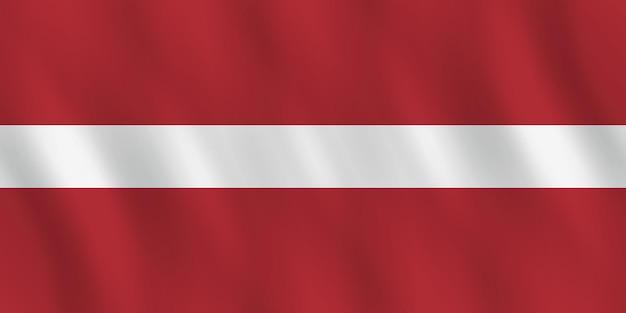 Bandiera della lettonia con effetto ondeggiante, proporzione ufficiale.