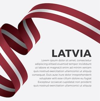 Illustrazione vettoriale di bandiera del nastro della lettonia su uno sfondo bianco vettore premium