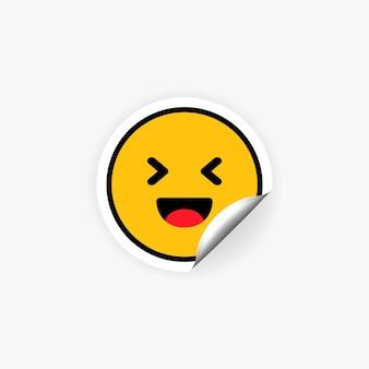 Adesivo emoji che ride. ridere. emozione di felicità. scherzo.