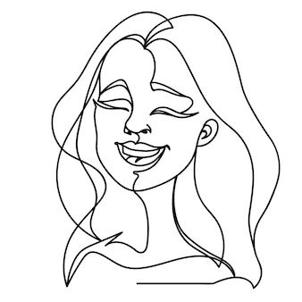 Ritratto di arte di una linea di donna che ride. felice espressione facciale femminile. sagoma di donna lineare disegnata a mano.