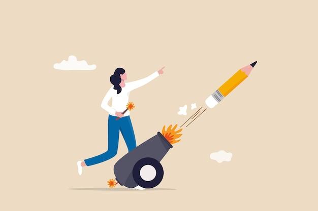 Lancia una nuova idea di creatività, aumenta l'ispirazione e la sfida, inizia a scrivere blog, racconta storie o crea un concetto di marchio, una donna creativa motivata lancia una nuova idea sparando un cannone a matita nel cielo.