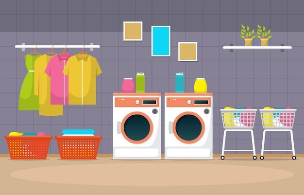 Lavanderia a gettoni vestiti lavatrice lavanderia strumenti interni moderni