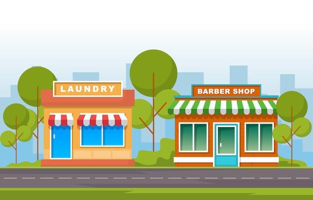Illustrazione piana del negozio anteriore della lavanderia e del barbiere Vettore Premium