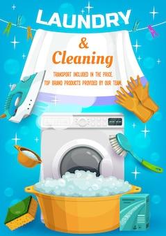 Annuncio di servizio di lavanderia e pulizie con lavatrice attrezzi per lavori domestici