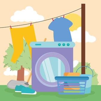 Panno per bucato e lavatrice davanti al paesaggio