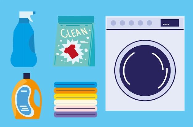 Vestiti del bucato e icone del sapone
