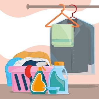 Abbigliamento da bucato con cesto