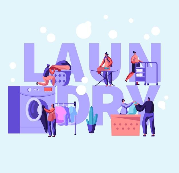 Illustrazione piana del fumetto di concetto di lavanderia