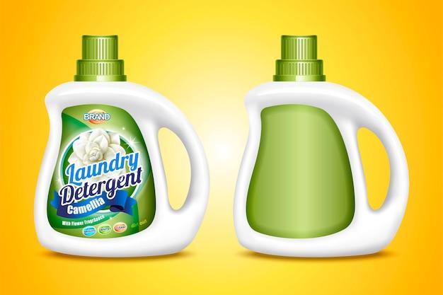 Modello di detersivo per bucato, due bottiglie con etichetta