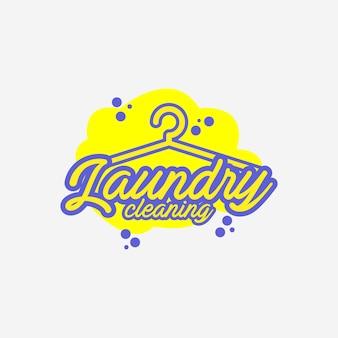 Lavanderia a secco e pulizia logo design vettoriale illustrazione vintage, logo appendiabiti
