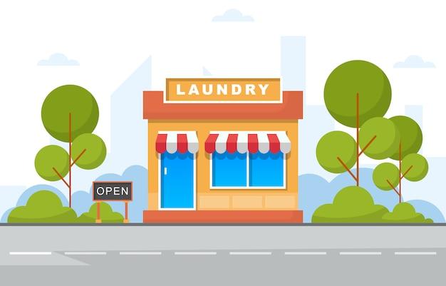 Illustrazione piana di negozio anteriore lavanderia Vettore Premium