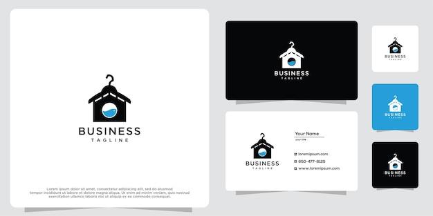 Design del logo della lavanderia o dell'appendiabiti con ispirazione per il design del logo della lavatrice