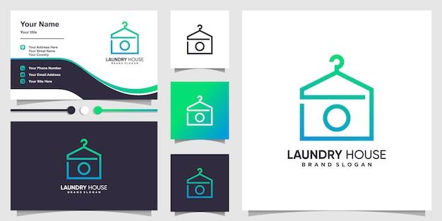 Modello di logo della casa della lavanderia e design del biglietto da visita vettore premium