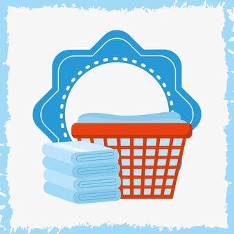 Illustrazione della lavanderia con asciugamani puliti