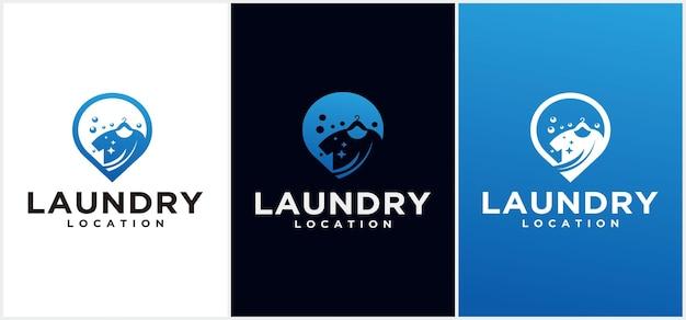 Modello di progettazione del logo della posizione della lavanderia modello di progettazione del logo della lavanderia progettazione del concetto dell'emblema di vettore