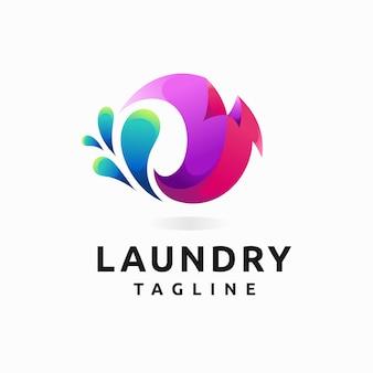 Logo della lavanderia con concetto di colore sfumato