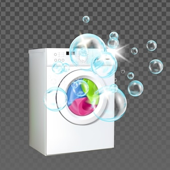Macchina per il bucato attrezzature per la casa lavare i vestiti vettore. indumenti di lavaggio della macchina della lavanderia con polvere liquida della bolla, apparecchio elettronico della famiglia. modello di servizio di pulizia illustrazione 3d realistica