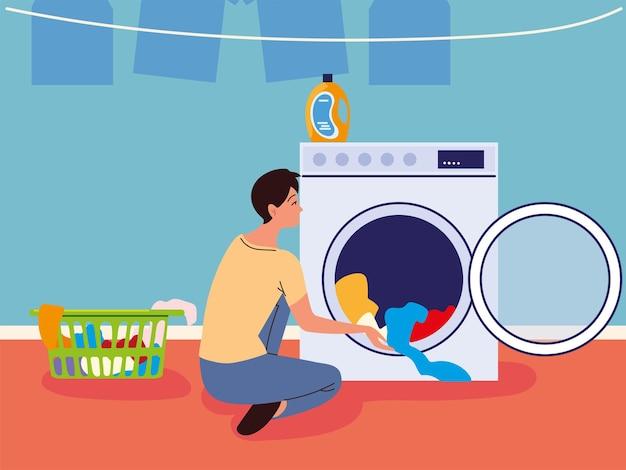 Uomo della lavanderia con i vestiti