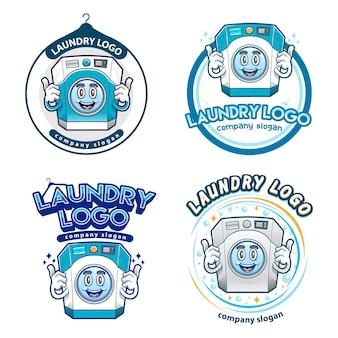Insieme di marchio della mascotte della lavanderia