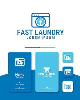 Boost veloce del design del logo del razzo della lavanderia
