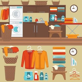 Lavanderia con illustrazione di lavatrice.