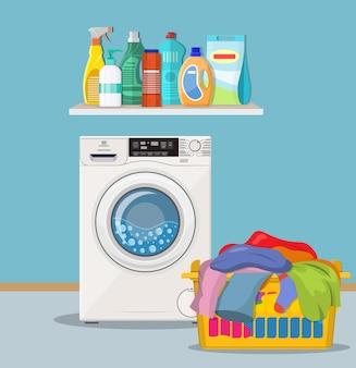 Locale lavanderia con lavatrice