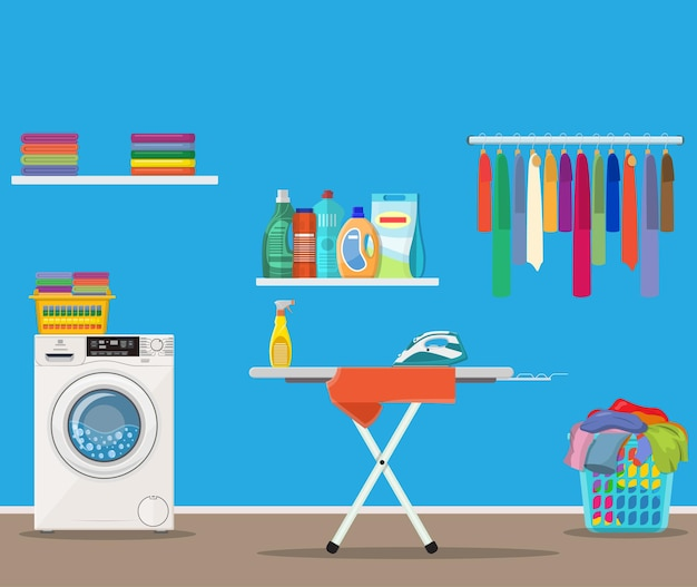 Locale lavanderia con lavatrice,