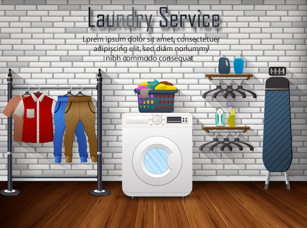 Banner di annunci di servizio di lavanderia