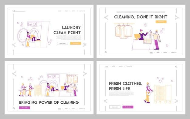 Set di modelli di pagina di destinazione del servizio di lavanderia