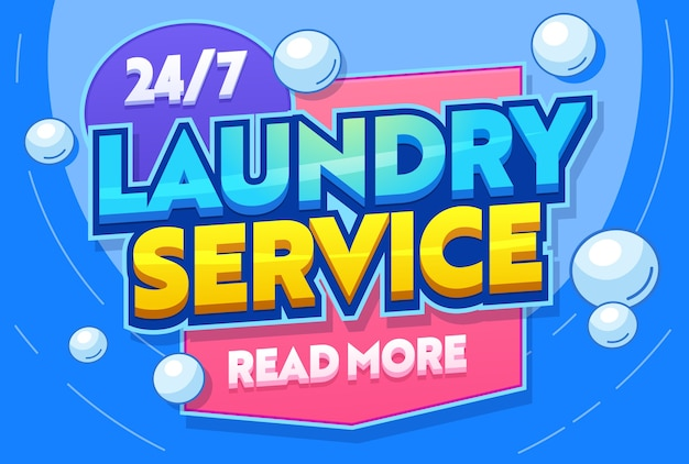 Servizio di lavanderia lavaggio abbigliamento tessile tipografia banner. ripostiglio per lavare i vestiti. stabilimento commerciale di lavanderia automatica. tessuto delicato pulito. illustrazione di vettore del fumetto piatto