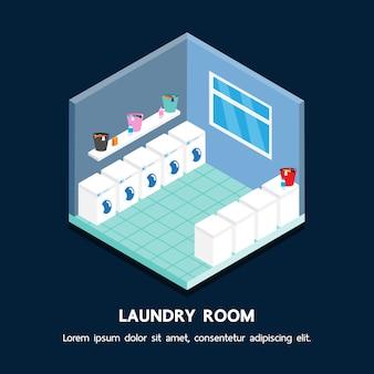 Disegno di prospettiva di vettore isometrico negozio di lavanderia.