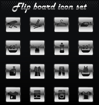 Icone meccaniche flip vettore lavanderia per il design dell'interfaccia utente