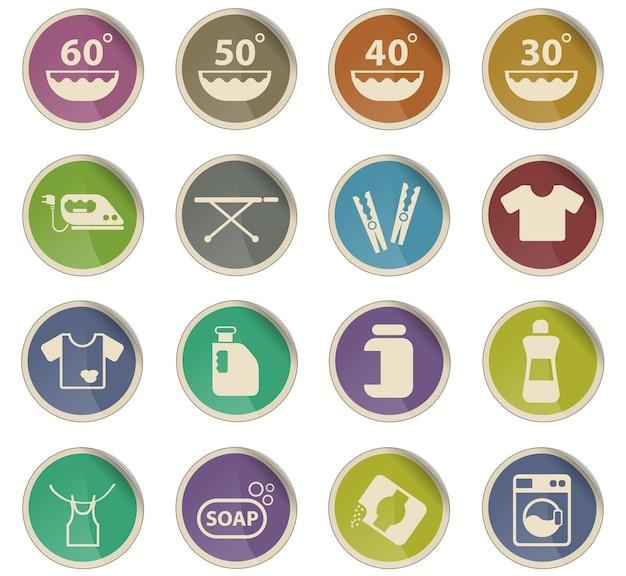 Icone vettoriali di lavanderia sotto forma di etichette di carta rotonde