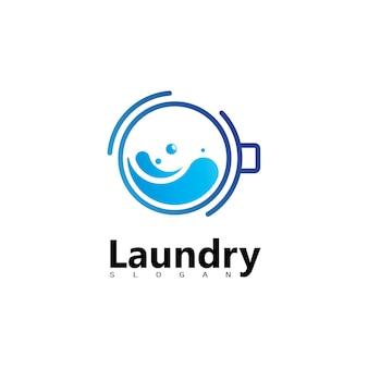 Logo della lavatrice della lavanderia con il cerchio per l'icona della tua attività di lavanderia