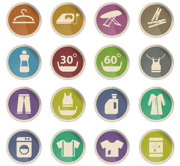 Icone web della lavanderia sotto forma di etichette di carta rotonde