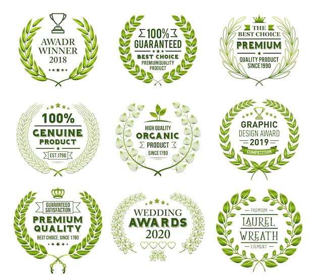 Laurel wreath badges vector
