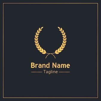 Modello di logo esclusivo di corona di alloro d'oro