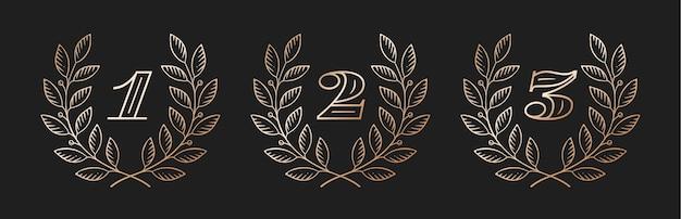 Icona di corona di alloro con numero
