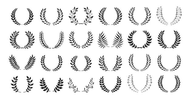 Laurel wreath oliva premio araldica silhouette set Vettore Premium