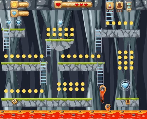 Modello di gioco platform nella grotta lavica