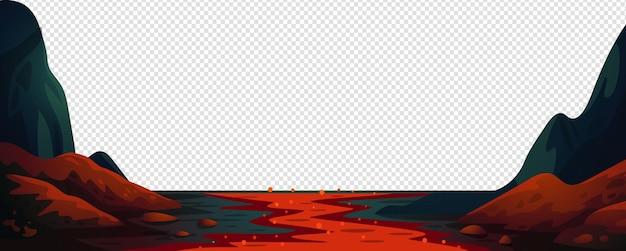 Paesaggio di fantasia del fiume di lava con il fiume di fuoco rosso
