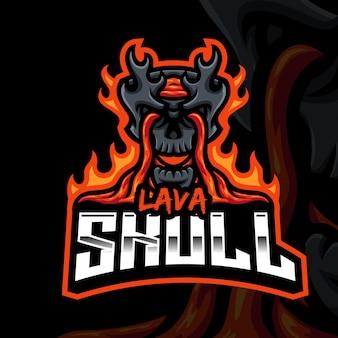 Modello di logo di gioco della mascotte del teschio di lava per lo streamer di esports facebook youtube