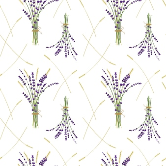 Profumo di lavanda ans modello di grano, sfondo bianco