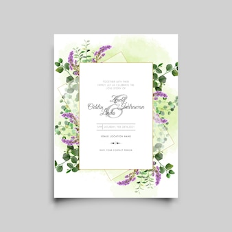 Carta di invito matrimonio acquerello lavanda ed eucalipto