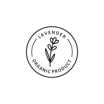 Distintivo biologico a base di erbe fiore di lavanda e icona in stile lineare di tendenza - emblema del logo vettoriale di lavanda può essere utilizzato modello per il confezionamento di tè, cosmetici, medicinali, additivi biologici