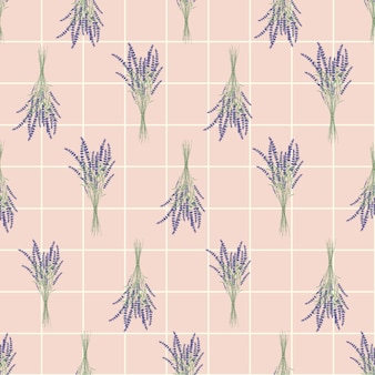 Modello senza cuciture bouquet di fiori di lavanda