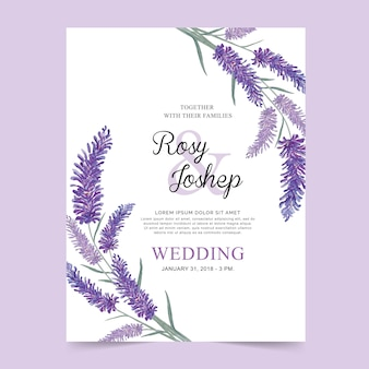 Partecipazione di nozze dell'acquerello dei fiori della lavanda.