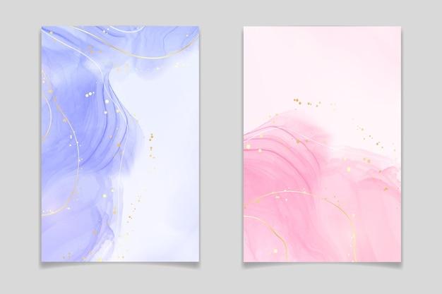 Sfondo acquerello liquido lavanda e rosa con linee e punti dorati