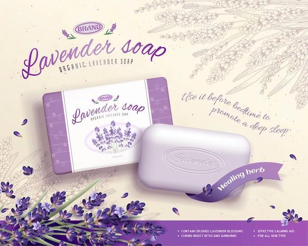 Annunci di sapone alla lavanda con ingredienti di fiori che sbocciano, sfondo floreale inciso