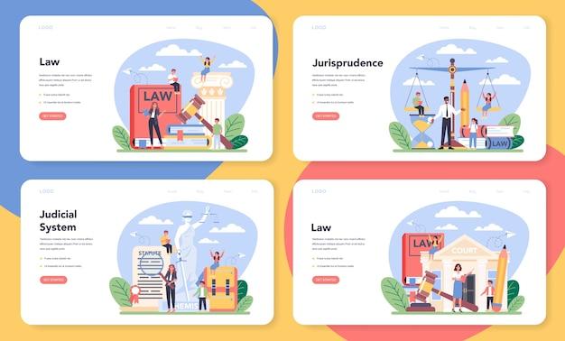 Banner web di classe di legge o pagina di destinazione imposta illustrazione in stile cartone animato